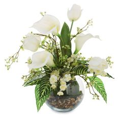 Floral Arrangement in Glass  Using neutral flowers in white and blush tones, give this arrangement an all-year look. Substitute for flowers that work with your decor as desired.