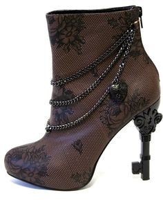 Steampunk boots! They're only $71.95 and the heel is a skeleton key.