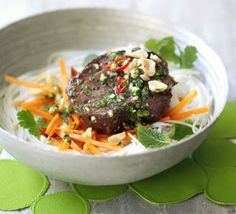 Grilled beef, carrot & rice noodle salad recipe