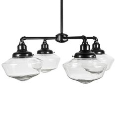 Junior 4-Light Clear Schoolhouse Chandelier | Barn Light Electric