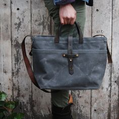 Waxed Canvas Tote: Slate by Peg and Awl by PegandAwl on Etsy