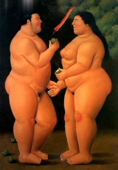 Adam and Eve by Fernando Botero - the creation of mankind and (some would say) where it all went wrong as humans discovered sin seduction and sex!