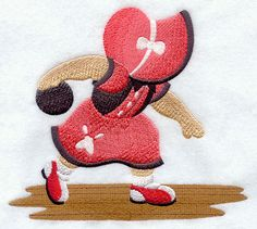 ** Bowling Strike! Sunbonnet Sue Block Of The Month Pattern Used As Applique Quilt @emlibrary