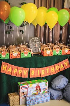 Favor Box Table from a Flintstones Inspired Birthday Party via Kara's Party Ideas | KarasPartyIdeas.com (11)
