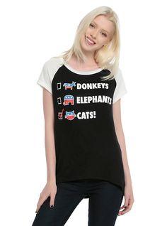 Vote For Cats Girls Raglan T-Shirt, BLACK
