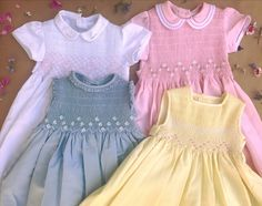 Dresses Frocks For Girls, Dresses Kids Girl, Kids Outfits, Smocking Baby, Smocked Baby Dresses, Baby Dress Design, Party Frocks, Girl Dress Patterns, Sweet Dress