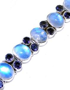 Rainbow Moonstone bracelet designed and created by Sizzling Silver. Please visit  www.sizzlingsilver.com. Product code: BR-774