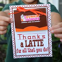 Thank you tag for Dunkin Donuts gift card...lots of other ideas and free printables at this site.