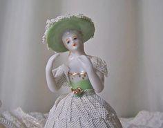 Vintage Porcelain Lace Figurine Victorian Porcelain Lady
