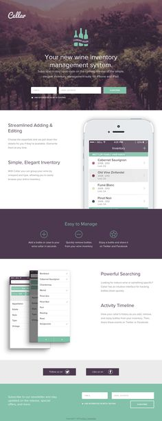 Lovely design with a soft mint and purple color scheme for upcoming wine inventory management app, Cellar.