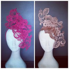 No photo description available. Wedding Hats, Headpiece Wedding, Tea Party Attire, Lace Crowns, Fascinator Headband, Dance Hairstyles, One Rose, Millinery Hats, Cocktail Hat