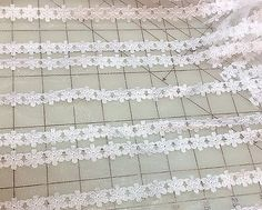 White Satin Flower Lace  58 inches  1 yard
