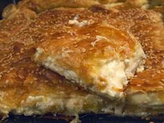 Homemade and very tasty pie with feta, milk and puff pastry. Ideal Breakfast, snack or first course. Greek Pastries, Savory Muffins, Cheese Pies, Greek Cooking, Mediterranean Recipes, Sweet And Salty, Greek Recipes, Dessert Recipes, Desserts