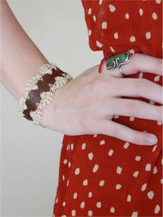 Leather and Lace crochet jewelry by Donna's Decembers Crochet Art, Thread Crochet, Crochet Ideas, Crochet Patterns, Jewelry Ideas, Diy Jewelry, Jewelry Making, Plastic Bag Crochet, Great Hobbies