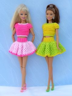 Crochet doll clothes // elegant clothes : Crochet pattern skirt with valance + top for small dress-up dolls Barbie Knitting Patterns, Doll Dress Patterns, Sewing Patterns Girls, Barbie Patterns, Dress Barbie, Dress Up Dolls, Sewing Barbie Clothes, Girl Doll Clothes, Crochet Doll Dress