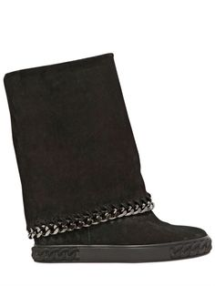 CASADEI - 90MM SUEDE CHAINED WEDGED BOOTS - LUISAVIAROMA - LUXURY SHOPPING WORLDWIDE SHIPPING - FLORENCE