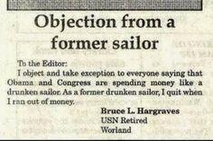 Good point former drunken sailor