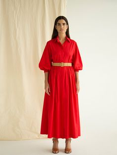 Fit and flare cut Full length Hidden buttons Contrasted adjustable belt Puffed sleeves Main fabric: Cotton, Polyester Dry clean Made in UAE Need Help or advice? Minimal Fashion, Minimal Style, Belted Shirt Dress, Bridesmaid Dresses, Wedding Dresses, Petite Size, Capsule Wardrobe, Fit And Flare, Fashion Dresses