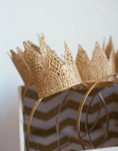 #DIYCrowns: Perfect for a dainty party with your nearest and dearest? These darling mini lace crowns, spray painted gold and glued to headbands.Created by Xiomara @ A Styled Fete. Photographed by Carly Jones.