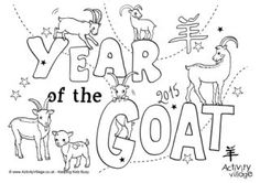 Year of the Goat Colouring Pages