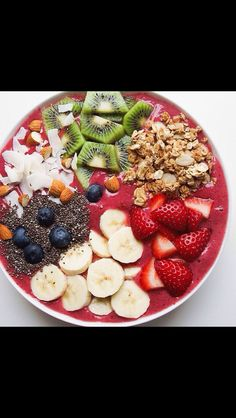 Enlighten smoothie bowl                                       1 1/2 cups frozen berry or fruit mix of choice       1 1/2 fresh banana (use other half sliced on top)  2 tbs almond or natural peanut butter                  1/2 cup water 3-4 ice cubes                                      Blend and top with:                                       Granola Coconut Cacao nibs Natural nut butters Berries Kiwi  Goji berries Hemp hearts Chia seeds  pomegranate seeds Pumpkin seeds Almonds