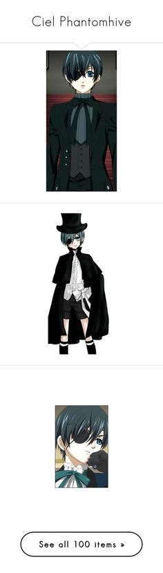 """Ciel Phantomhive"" by to-reach-the-sky ❤ liked on Polyvore featuring anime, black butler, kuroshitsuji, fillers, manga, characters, effect, accessories, hats and women"