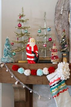 Nesting in the Bluegrass: Vintage inspired Christmas mantel christmas mantel ideas French Christmas Decor, Retro Christmas Decorations, Christmas Mantels, Christmas Love, Rustic Christmas, Beautiful Christmas, Vintage Christmas, Christmas Holidays, Christmas Crafts