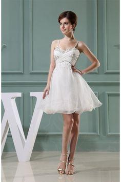 Gefaltet rückenfreies ärmelloses A-Linie mini Brautkleid mit Reißverschluss - Bild 1