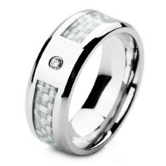 JBlue men's Stainless Steel Ring Band Silver Carbon Fiber White Cubic Zirconia Wedding (with Gift Bag)
