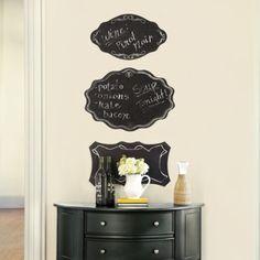 Ballard Design price $39 each. Scalloped edge chalk boards. Permanent chalk outline flourishes on each.