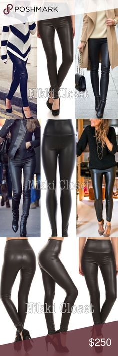 "High waist faux leather fleece lined leggings sexy Sexy black Vegan Faux leather leggings. Perfect fit  High waist tummy control  Medium weight Lightly soft Fleece-lined Very Stretchy Fabric 65% Polyester,35% Cotton Measurements (Inseam = 27-28"") (Total Length= 38-39"") (Front Rise = 12"") (Back Rise =14"") (Small Waist =11-13"") (Medium Waist =12-14"") (LargeWaist =13-15"") (XL Waist =14- 16 "" ) *Price is firm unless bundled Boutique Pants Leggings"