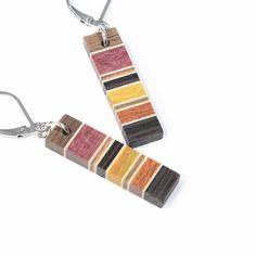 earrings / wood / handmade / stainless steel  / stainless steel / isabelle ferland de la boutique IsabelleFerland sur Etsy