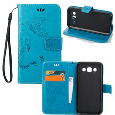 Cute Flower Leather Wallet Case for Samsung Galaxy E7 E7000 Phone Case with Stand Flip Card Slot Case Cover For Samsung E7 Bag