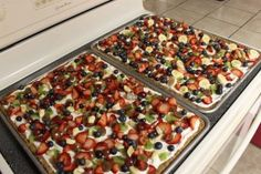 Fruit pizza with oatmeal cookie crust!