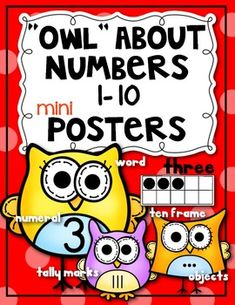 """Owl"" About Number Posters 1-10 Math Kindergarten Classroom. Supports Common Core {Numbers shown in 5 different ways: numeral, word, objects (dots), ten frame, and tally marks.} $"
