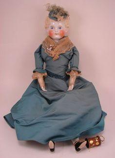 Jenny Lind Style German China Shoulder head doll,