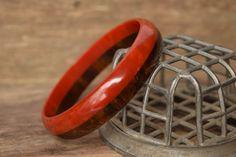 Bakelite  Red and Brown Laminate bakelite bracelet  by YournNonce