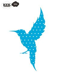 Fabric Friends Hummingbird Blue and White - Wall Stickers
