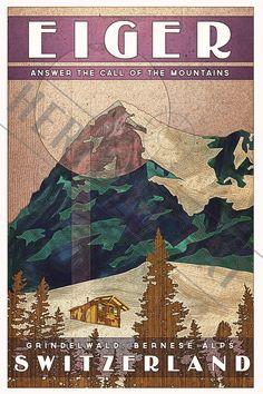 Switzerland Eiger- Vintage Travel Poster by HeritageArtPrints on Etsy https://www.etsy.com/au/listing/224110514/switzerland-eiger-vintage-travel-poster