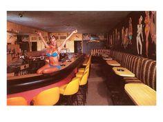 Swedish Girl in Bathing Suit on Bar, Retro Premium Poster