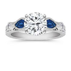 Vintage Pear Shaped Sapphire and Diamond Engagement Ring shown with diamond center; your choice of ruby, sapphire or diamond center