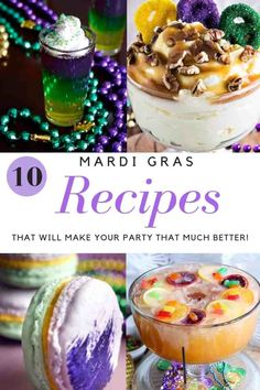 These Mardi Gras recipes will make your party the best Mardi Gras celebration. - These Mardi Gras recipes will make your party the best Mardi Gras celebration. With these recipes, - Mardi Gras Centerpieces, Mardi Gras Decorations, Holiday Decorations, Mardi Gras Outfits, Mardi Gras Costumes, Mardi Gras Food, Mardi Gras Party, Karneval Outfits, New Orleans Recipes