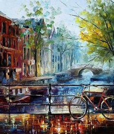 Bicycle Wall Art Cityscape Oil Painting On Canvas By Leonid