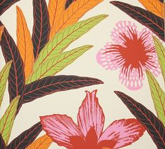Palmnava Wallpaper A large contemporary tropical floral wallpaper in orange, lime, pink and red, designed by Swedish designer Hanna Werning