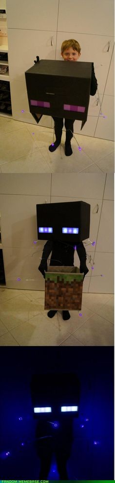 Glowing Enderman Costume (Hell freaking to the YES. If my SON doesn't choose to wear this next year... *I* will!!!!)