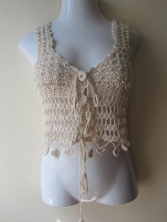 Crochet Cropped top, Crochet vest,  festival clothing, beach wear, gypsy, bohemian princess