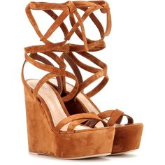 Gianvito Rossi Suede Wedge Sandals ($696) ❤ liked on Polyvore featuring shoes, sandals, heels, wedges, brown, brown heeled sandals, wedges shoes, brown sandals, wedge heel shoes and brown wedge sandals