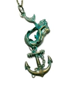 Mermaid Necklace Steampunk Patina Sea Maiden Anchor Handmade Gift