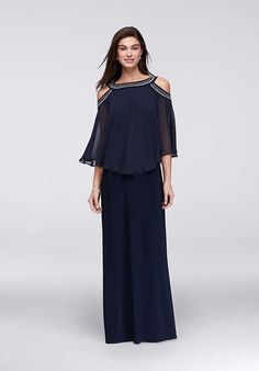 e1fff7971201 Rows of beading encircle the neck and open shoulders of this long jersey  gown\'s flowing chiffon capelet. By Alex Evenings Polyester, spandex Back  zipper; ...