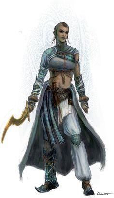 Aaliyah Tritun, paladina de Horus He. Irmã mais nova de Álefe Tritun, carrega o emblema da rosa entre correntes, herança de sua linhagem Tamassir. Secretamente tem certa vergonha do irmão Álefe e considera-o um pária na família. PZO1125-Monk.jpg (579×1000)